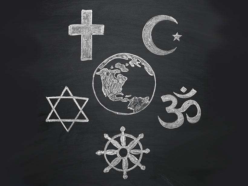 Chalkboard drawing of globe surrounded by symbols of Christianity, Islam, Hinduism, Buddhism, and Judaism.
