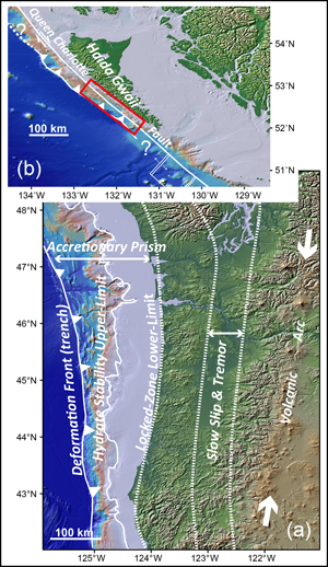 The Cascadia subduction zone off the west coast of the United States and Canada provides examples of questions a subduction zone observatory could address.