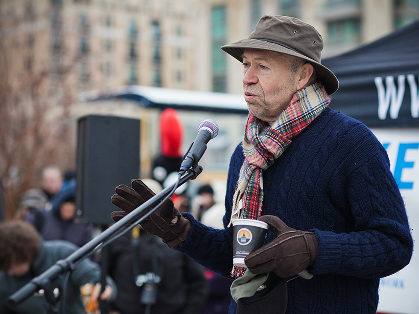 Climate scientist and climate action advocate James Hansen addresses the crowd at a fundraising event in the Washington, D. C., area.