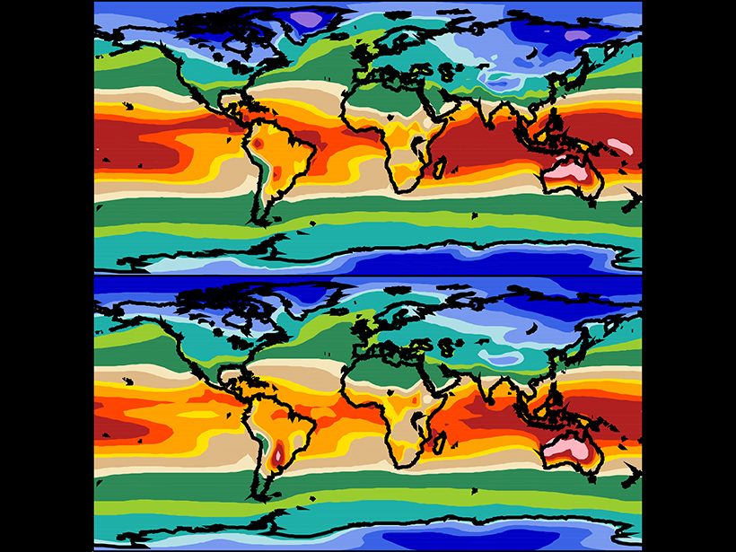 (top) Observed and (bottom) simulated seasonal mean (December–January–February) 2-meter surface air temperature data.