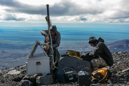 Crews work on a seismic station on the northern flank of Alaska's Veniaminof Volcano.