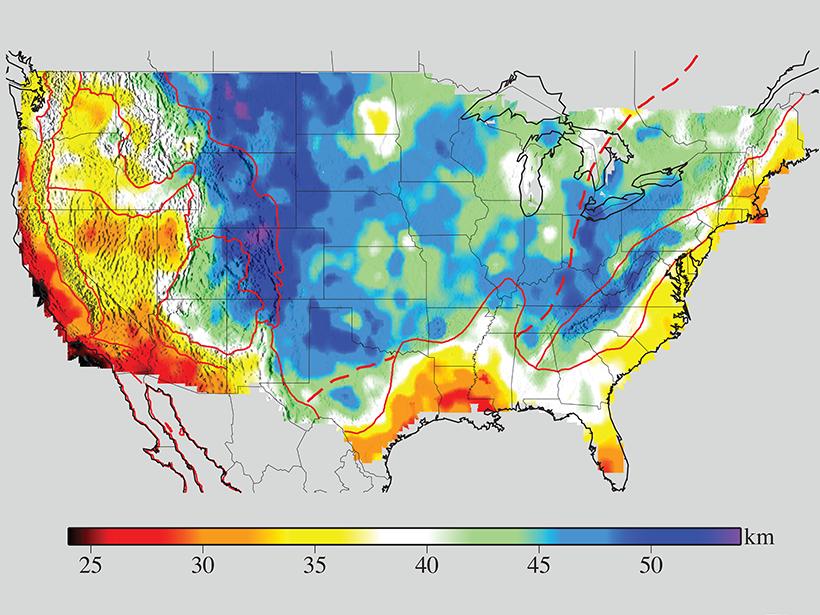 US crustal thickness map.