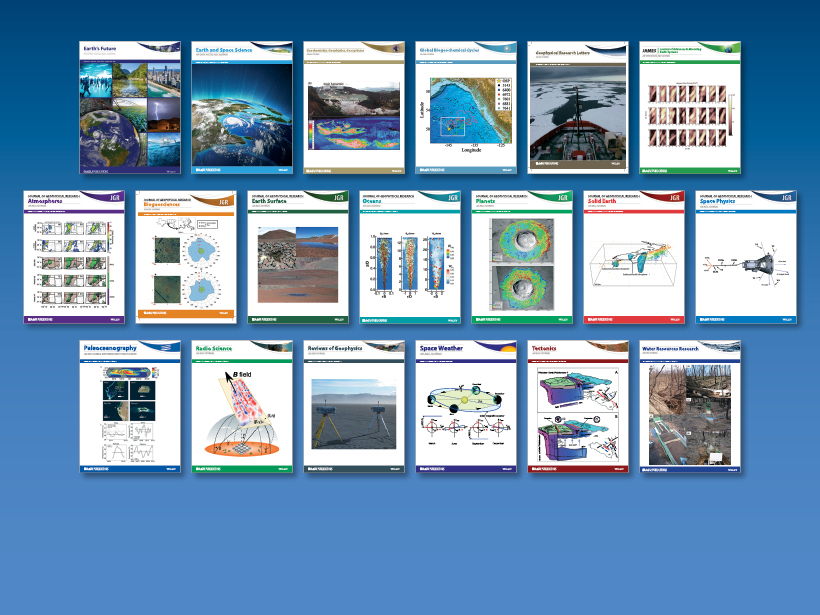Recent covers of the 19 journals that AGU currently publishes.