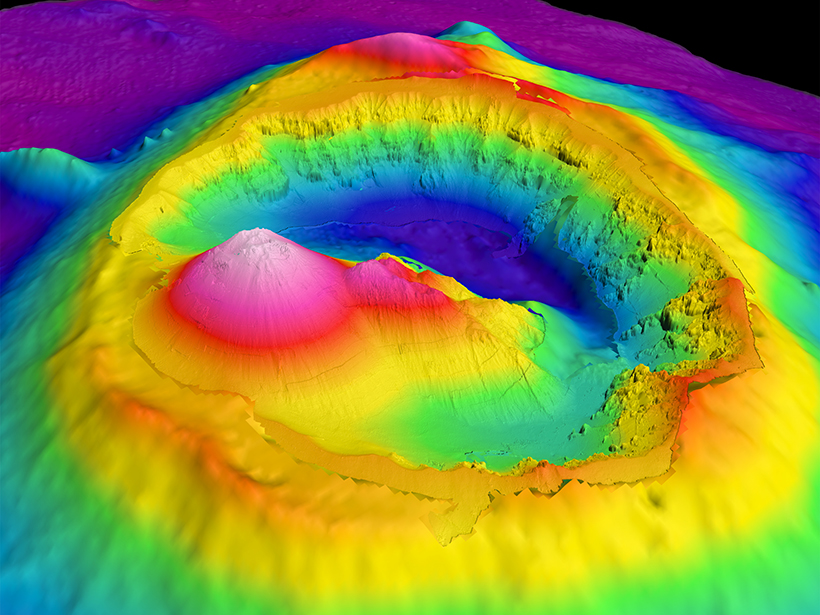 Bathymetry image of Brothers Seamount and caldera, an undersea volcano off the coast of New Zealand.