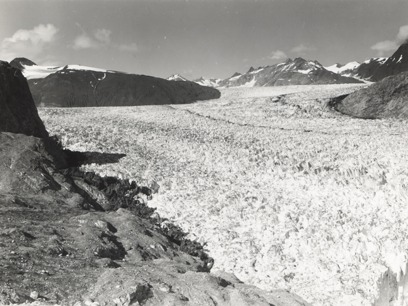 A 1941 photograph shows the extent then of the Muir Glacier in Alaska.