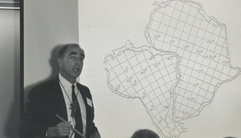 Patrick Hurley of MIT shows how continents fit around the Atlantic in a talk at the History of the Earth's Crust Symposium.