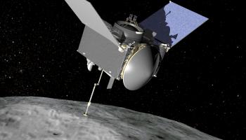 Artist's conception of the OSIRIS-REx spacecraft exploring asteroid Bennu.