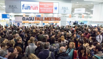 Meeting attendees gather outside the exhibit hall of the 2016 AGU Fall Meeting in San Francisco, Calif., last December.