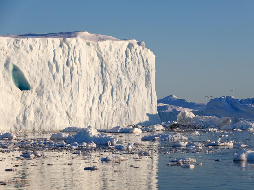 Glacier melting off the coast of Greenland.