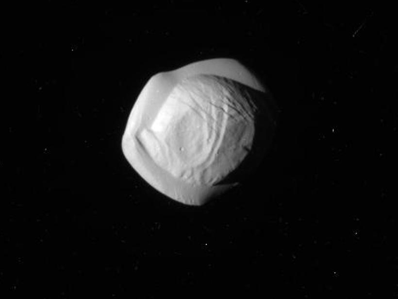 A polar view of Saturn's moon, Pan