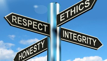 Signpost: respect, ethics, integrity, honesty