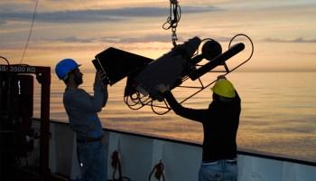 Marine scientists deploy a video plankton recorder in the high-latitude North Atlantic in April 2012.