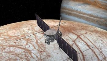 Artist's rendition of a future NASA spacecraft visiting Jupiter's moon Europa.