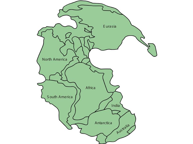 Modern continents mapped onto Pangaea.
