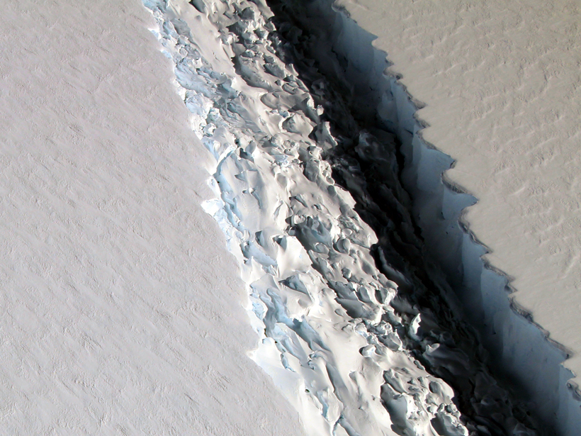 A closeup of a rift in the Larsen C ice sheet in 2016.