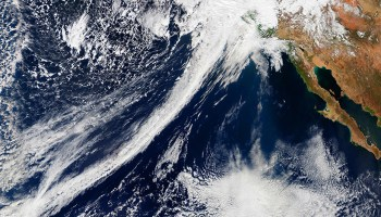 A satellite image of an atmospheric river on 20 February 2017, which helped the American west emerge from a 5-year drought.