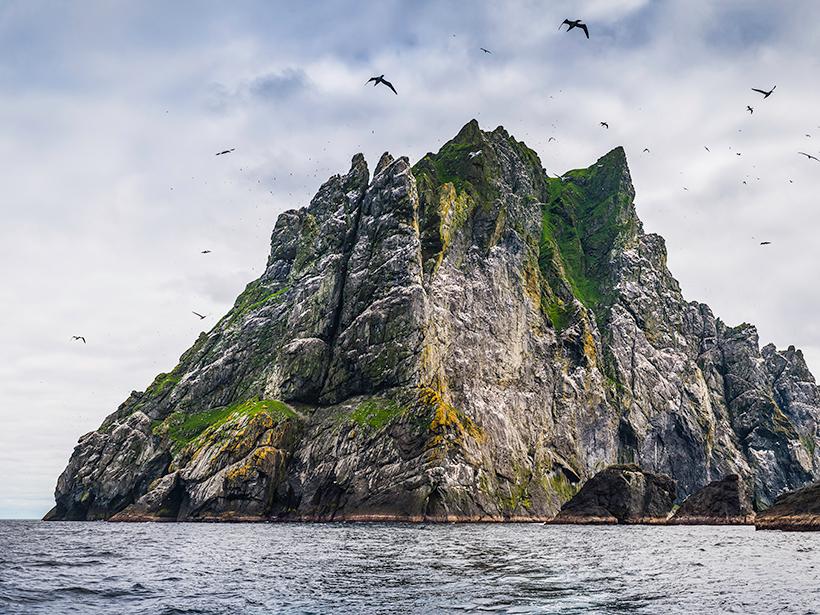 Offshore island cliffs, St. Kilda, Scotland.