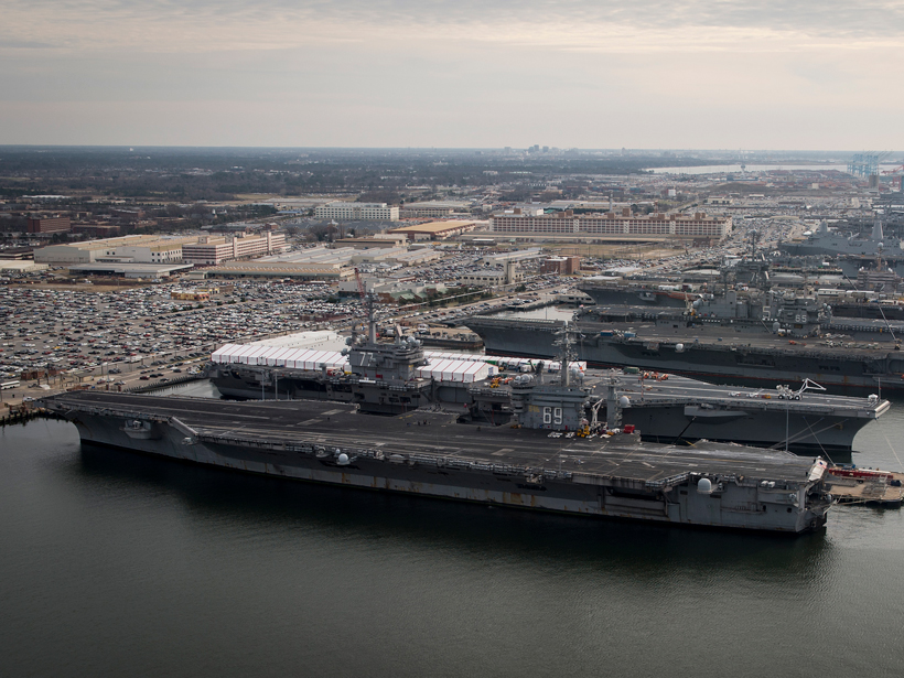 U.S. aircraft carriers in port at Norfolk, Va.