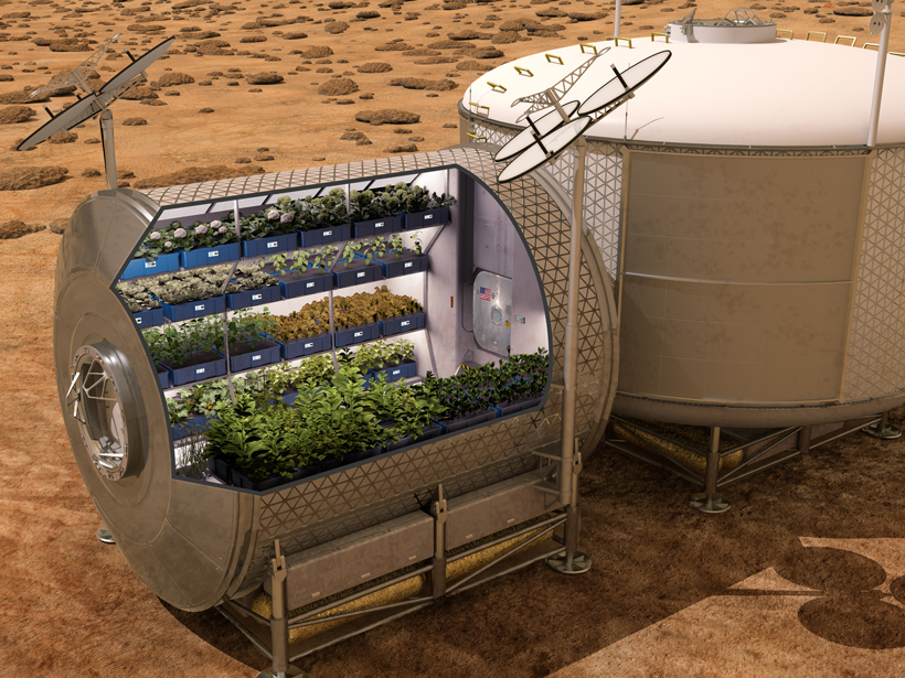 An artist's conception of a portable Martian greenhouse currently being developed at NASA.