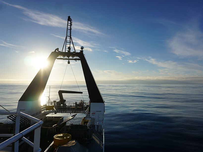 New Zealand's Canterbury coast seen from R/V Tangaroa during the MARCAN program's controlled-source electromagnetic survey.