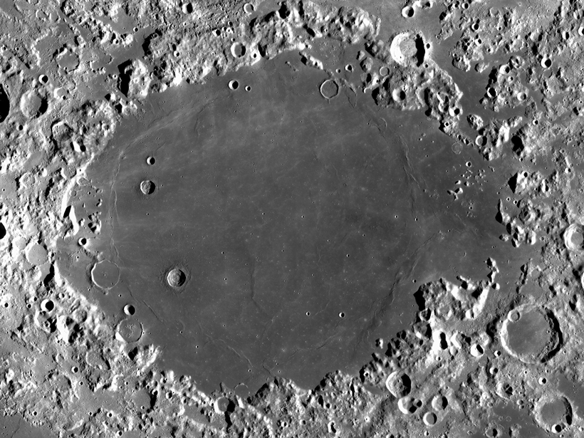 Mare Crisium, a large impact large basin on Earth's Moon.