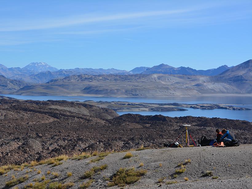 Geoscientists at Laguna del Maule, Chile