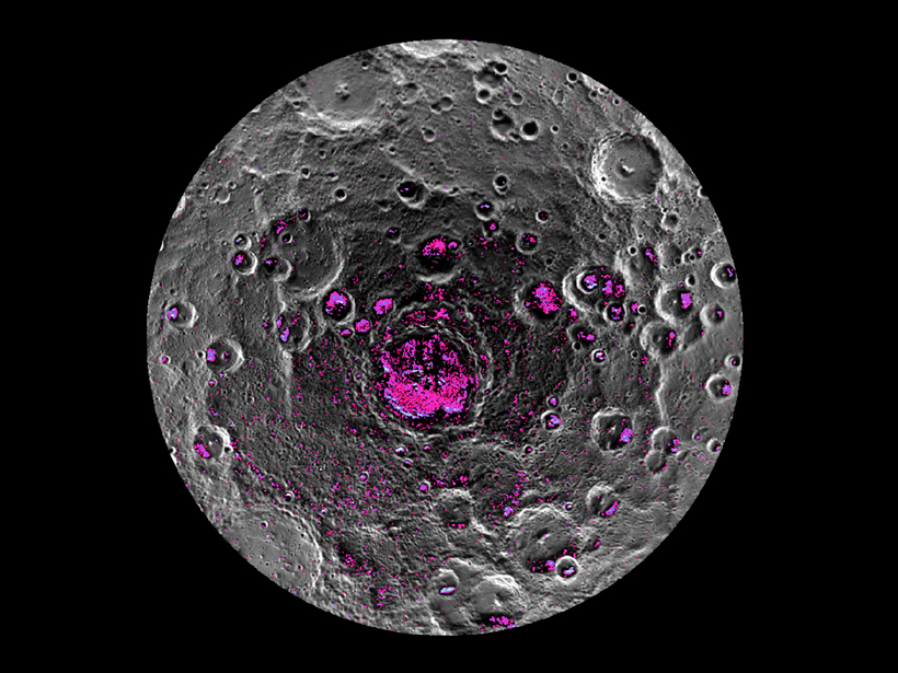Mercury's south pole to 80°S, with an Arecibo radar image in pink indicating locations of water ice.