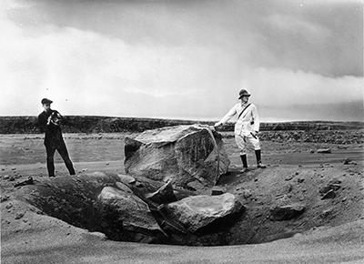 Halema'uma'u crater boulder from 1924