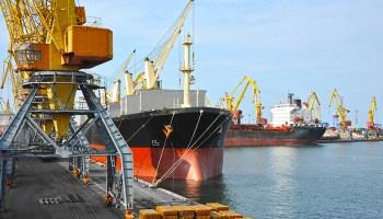 A bulk cargo ship docked under a port crane.