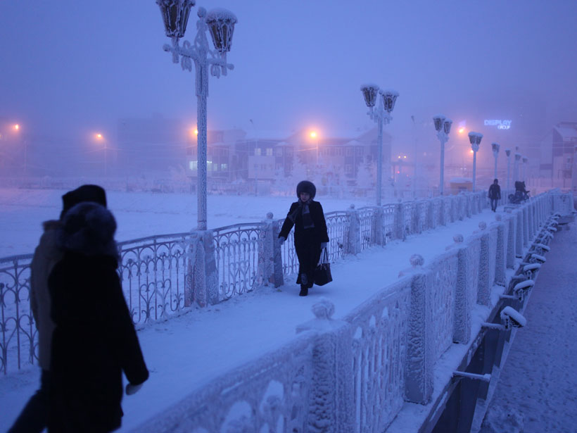 Residents of Yakutsk in northeastern Siberia during a cold snap
