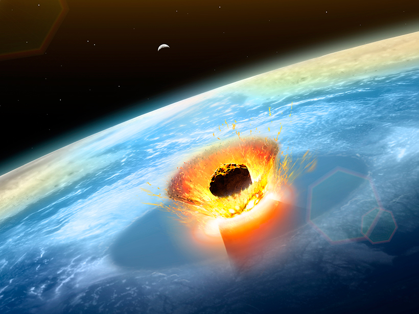 Artist's rendering of the impact of an enormous asteroid striking Earth about 66 million years ago, as seen from space.