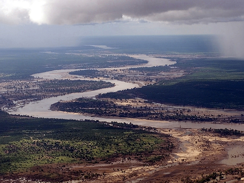 The Limpopo River in Mozambique, which can pose a threat to human infrastructure when floodwaters rise