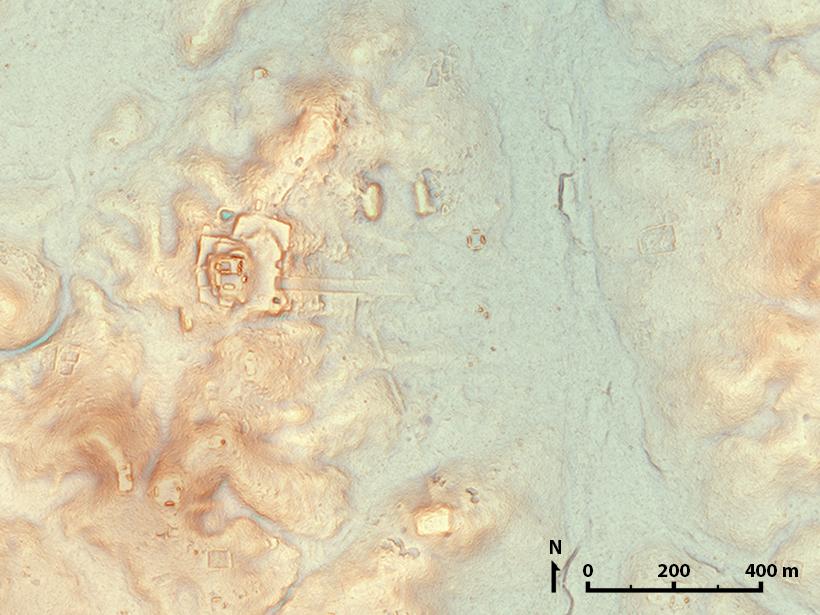 Topographic lidar map of ancient Maya city of Tikal