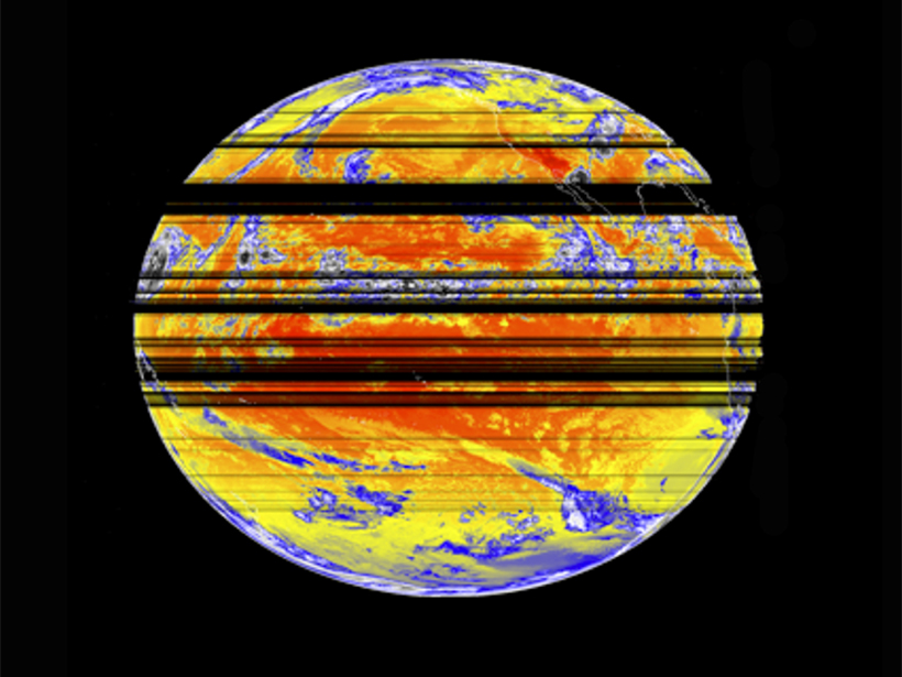 Horizontal black lines show weather satellite data loss from radio frequency interference in 2015.