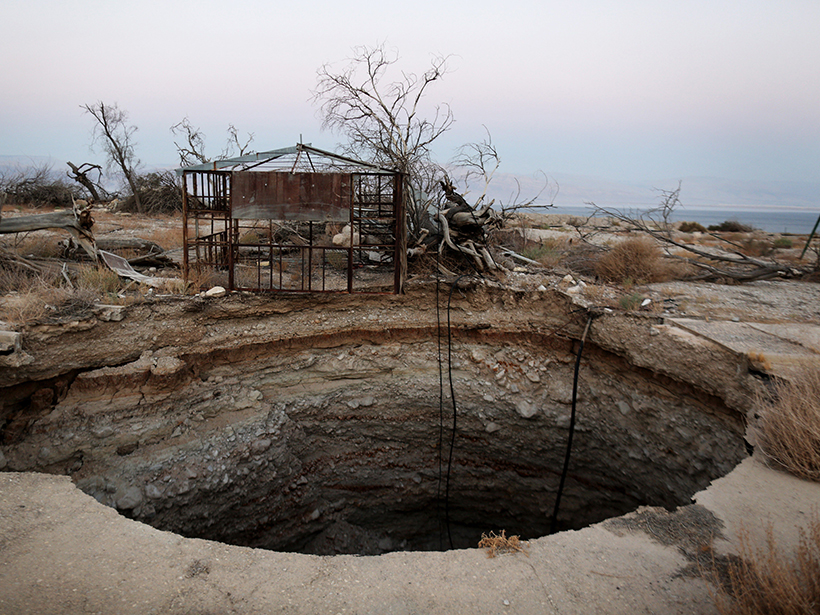 Sinkholes forced the closure of Ein Gedi, an Israeli tourist resort on the shore of the Dead Sea, in 2016
