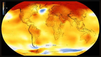 Map of global temperature for 2014–2018 change compared to the 1951–1980 average