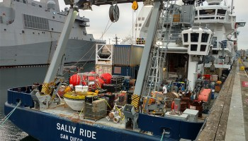 R/V Sally Ride arrives in Seattle, Wash., after a cruise to Global Station Papa near the Alaska Gyre in the North Pacific.