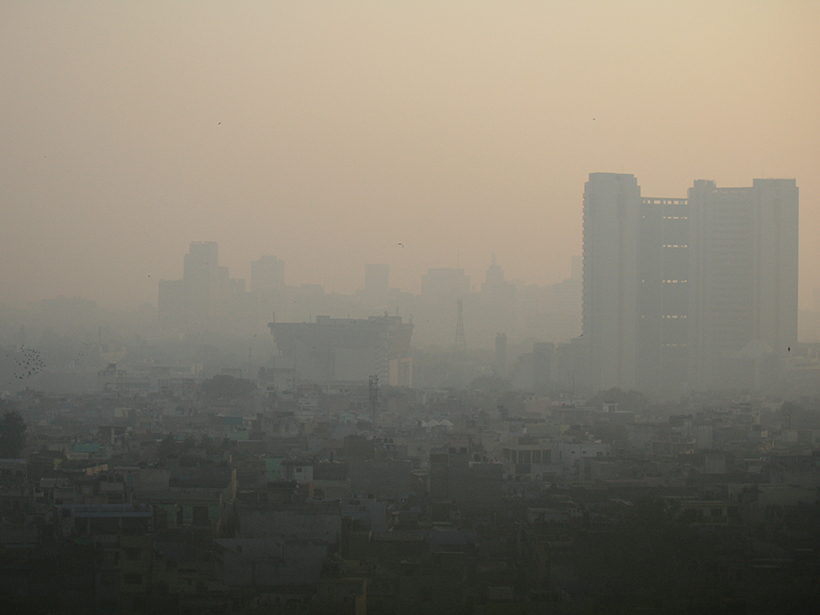 A view of poor air quality in Delhi, India.