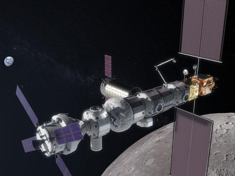 An artist's rendering of the Lunar Orbital Platform–Gateway over the Moon