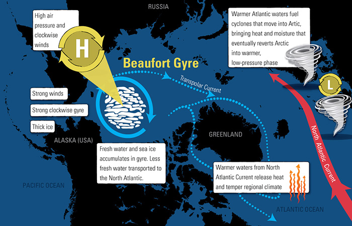 Interconnected wind, ice and currents in the Arctic region