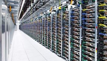 A Google data center offering cloud services like on-demand computational nodes.