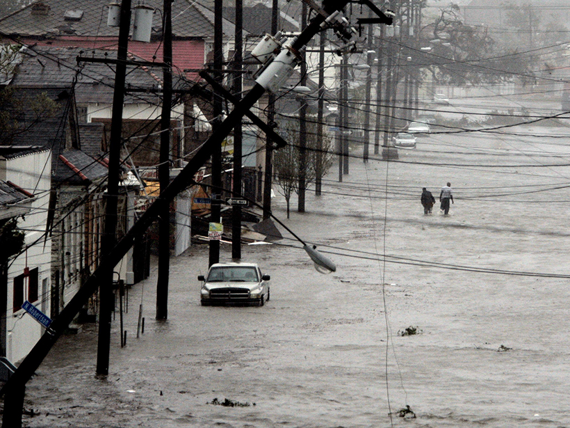 A flooded New Orleans neighborhood after Hurricane Katrina in 2005