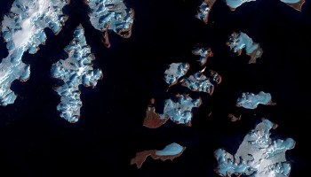 A false-color satellite image of melting glaciers in the Russian Arctic