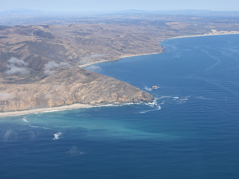 Point Sal on the California coastline in an aerial view of the study site for the 2017 Inner Shelf Dynamics Experiment.