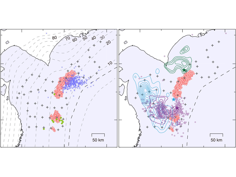 Figure showing earthquake tremor locations
