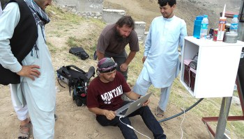 A team of Afghan and U.S. scientists install a continuous GPS instrument