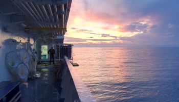 The crew of the R/V L'Atalante is up and working at sunrise during an annual MOOSE-GE (Grande Echelle) oceanographic cruise.