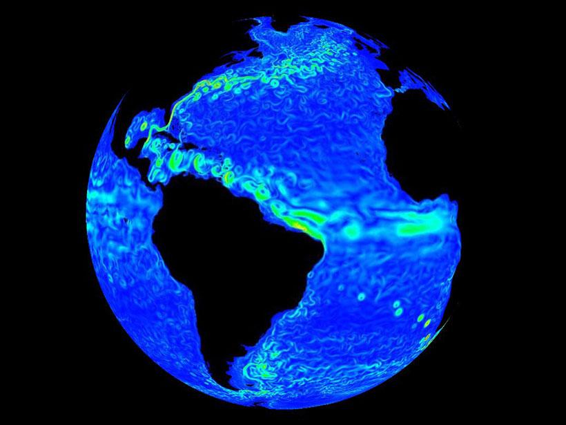 NASA visualization of dozens of eddies in the Atlantic Ocean