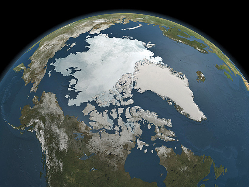 NASA's Aqua satellite captured this microwave image of the Earth including Arctic sea ice cap on 3 September 2010.