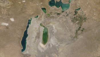 Satellite view of what remains of the Aral Sea, as well as the vast area formerly covered by the sea that now is considered the Aralkum desert